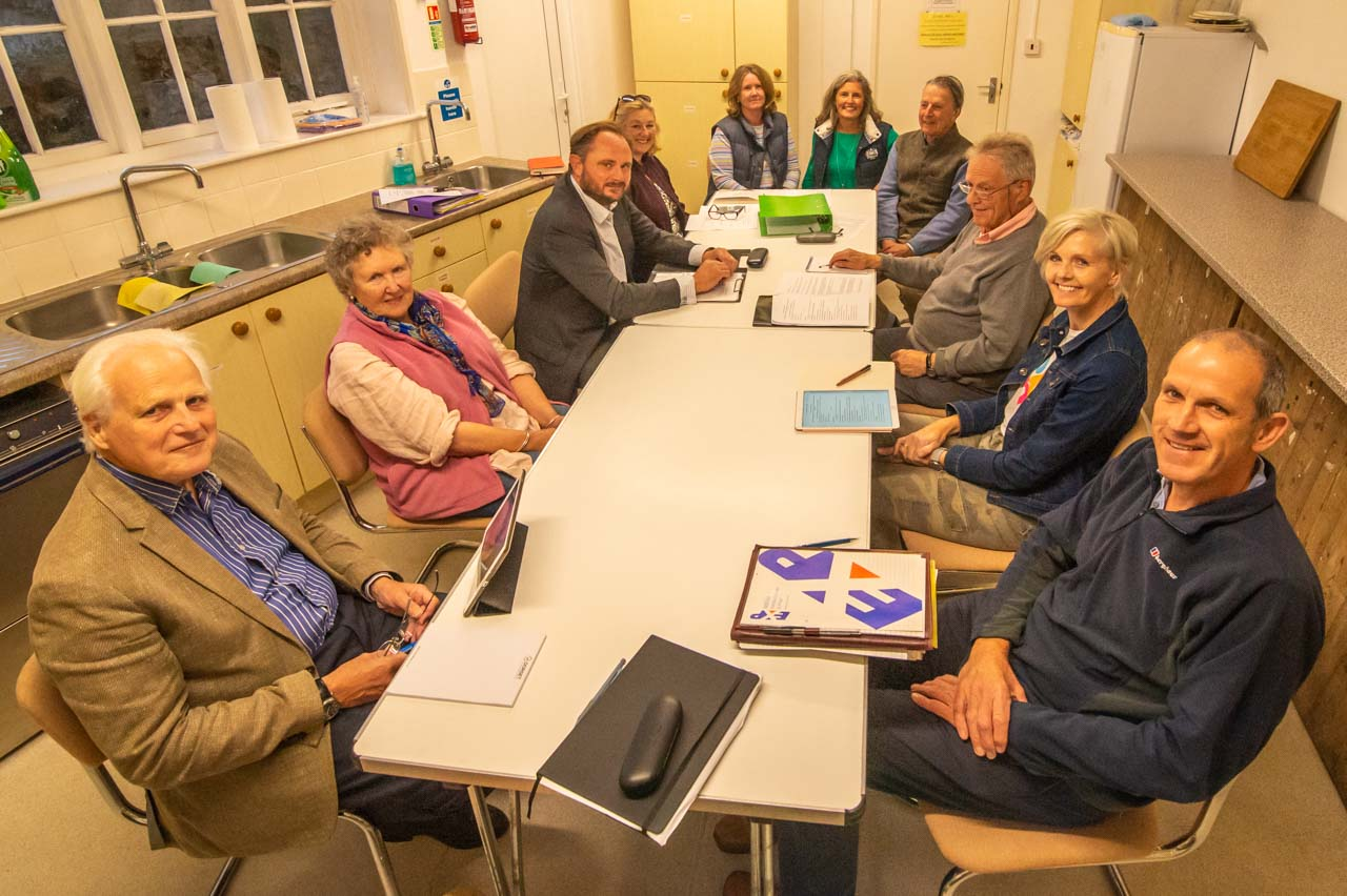 Parish Councillors at a meeting held in the Savill Hall, Cattistock